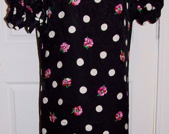 Vintage Ladies Black & White Silk Dress Maggie London by Jeanneane Booher Size 12 Only 10 USD