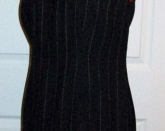Vintage Ladies Black Wool Pin Stripe Dress by Amanda Smith Size 2 PETITE Only 7 USD