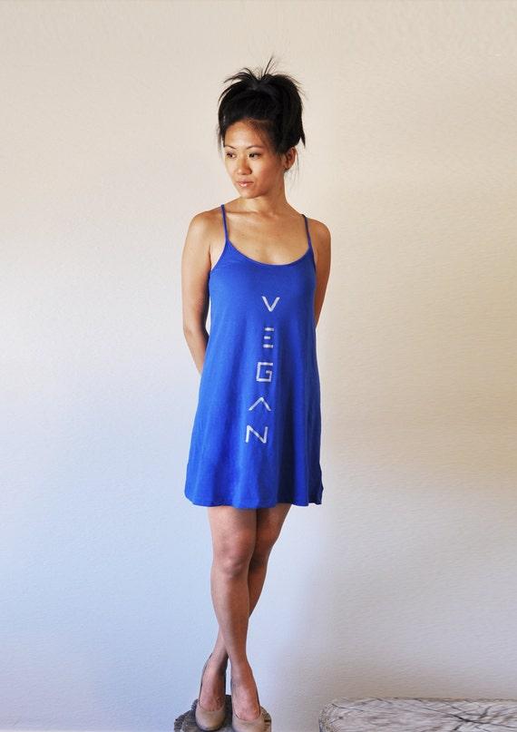 Vegan Clothing - Simple Blue Dress (Size S / M / XL )