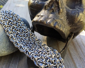 Chainmail Bracelet, Unisex Bracelet, Wider Woven Chainmaille Cuff in Gunmetal and Silver - Ready To Ship