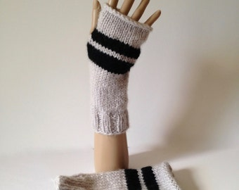 Gray and black knitted fingerless gloves, grey fingerless mitts with black stripe, seamed on thumb side, fuzzy arm warmers, texting gloves