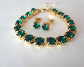 Emerald crystal bracelet and earring SET ~ Gold ~ Swarovski ~ Brides jewelry set ~ Tennis bracelet ~ Stud earrings - Bridesmaids ~ Gift