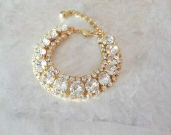 Gold crystal bracelet ~ Gold crystal statement bracelet, Swarovski crystal bracelet, Brides crystal bracelet,Crystal wedding bracelet,SOPHIA