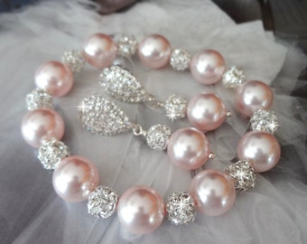 Pink pearl bracelet and earring set - Chunky - Swarovski Pearls and crystals ~ Elegant - Brides set - Bridal jewelry - Bridesmaids - LOLITA