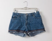 Cute Denim Festival Shorts with Colorful Woven Trim. Size Medium.