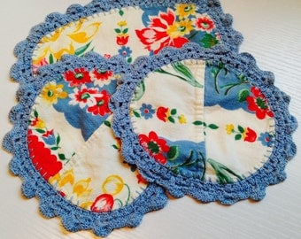 Set of 3 Vintage Fabric Dollies with Crocheted Edging