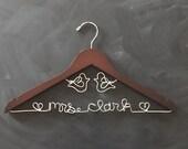 Love Birds Wedding Hanger, Personalized Hanger, Rustic Wedding, Vintage Wedding, Last Name Hanger, Future Mrs, Unique Bridal Shower Gift