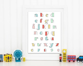 Baby art. Pastel ABCs alphabet. Nursery decor printable Home decor art print baby gift typography digital prints  Instant download