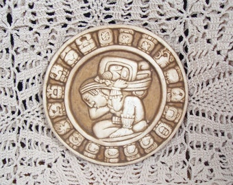 Vintage Renato Dorfman Mexican Mayan Zodiac Astrological Plaque Art Tile