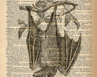 Dictionary Art Print - Bat / Vampire Bat - Upcycled Vintage Dictionary Page Poster Print - Size 8x10
