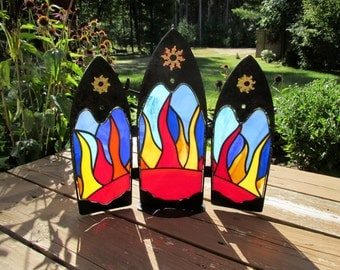 Sun Stained Glass Church Window Set in Upcycled Metal Frame