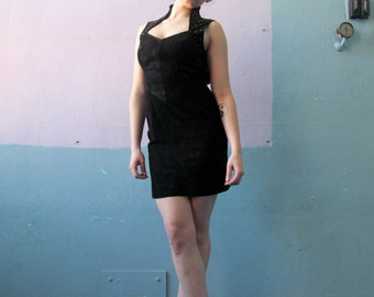Vtg 80s 90s Black Suede Leather Dress