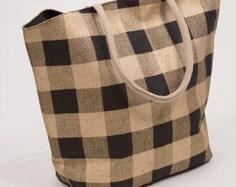 monogrammed black u0026 gold buffalo check jute tote bag tote bag monogrammed large - Large Tote Bags