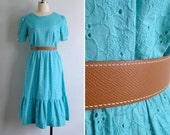 Vintage 80's Turquoise Blue Eyelet Embroidery Day Dress S or M