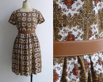 Vintage 50's Baroque Print Square Neck Cotton Dress XS or S