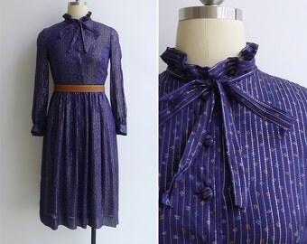 Vintage 80's Rumpelstiltskin Indigo Blue Ruffled Collar Pussy Bow Dress XXS or XS