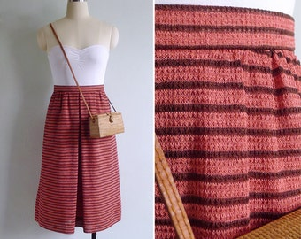 Vintage 80's 'Strawberry Shortcake' Pink Striped A-Line Skirt S or M