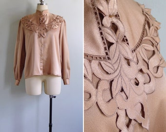 Vintage 80's Silky Copper Cutout Collar Lapel Blouse M or L