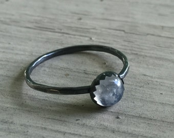Rainbow Moonstone Ring - Silver - Moonstone Ring - 6mm