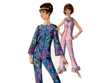 1960s Lounging Pajamas Pattern Ruffled Jumpsuit Bell Bottoms Zip Front Bell Sleeve Sleeveless Simplicity 6793 Bust 32 Vintage Sewing Pattern