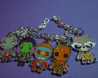 Guardian Bracelet, Galaxy Bracelet, Charm Bracelet, Geek Jewelry, Starguy, Groot