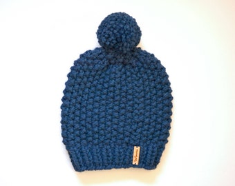 Slouchy Chunky Knit Beanie // Chunky Knit Beanie With Pom Pom // Textured Beanie With Pom Pom // Hand Knitted Beanie // Slouchy Winter Hat