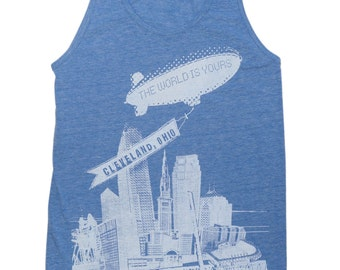 American Apparel SUPER SOFT Vintage Feel Unisex Tri-Blend Tank - The World Is Yours Cleveland on Heather Athletic Blue
