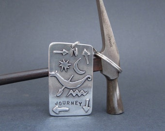 Pewter Key Chain with Travel Symbols