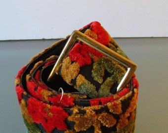 Vintage Hippie Floral Flocked Carpet Belt