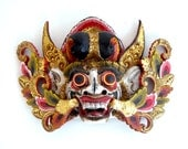 Vintage Hand Carved, Painted Barong Rangda Balinese Wood Mask - Handmade Wooden Demon Queen Face Gilded Gold Carving Indonesian Wall Hanging