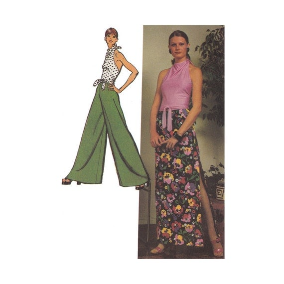 palazzo pants and cowl halter top sewing pattern by redcurlzs