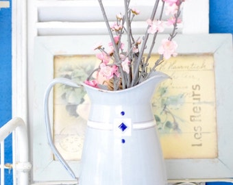 French Enamelware Pitcher French Farmhouse Cottage Chic Vintage