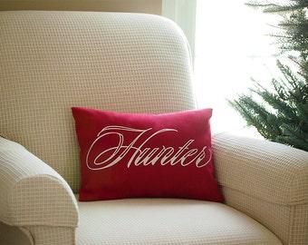 Custom Name Embroidered Home Decor Pillow Cover Cushion Cover Accent Pillow Embroidered Name 12 x 16 or Lumbar 16 x 26