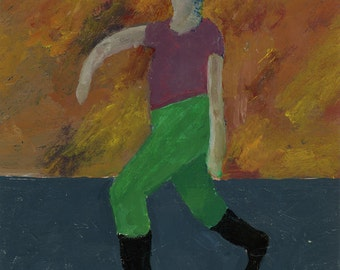 "Original Painting - ""Green Pants, Red Sky"" by Peter Mack"