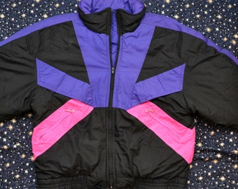 Vintage 80s Puffy Windbreaker Neon Colorblock Jacket Winter Coat
