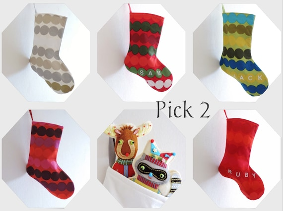 2 Christmas Stockings - TWO CINDY LOU Socks - Small, Short, Scandinavian, Marimekko, Dr Seuss, Boy Girl, Xmas Holiday Decor - U Pick Colors