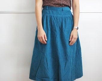SALE - Vintage turquoise corduroy high waist skirt