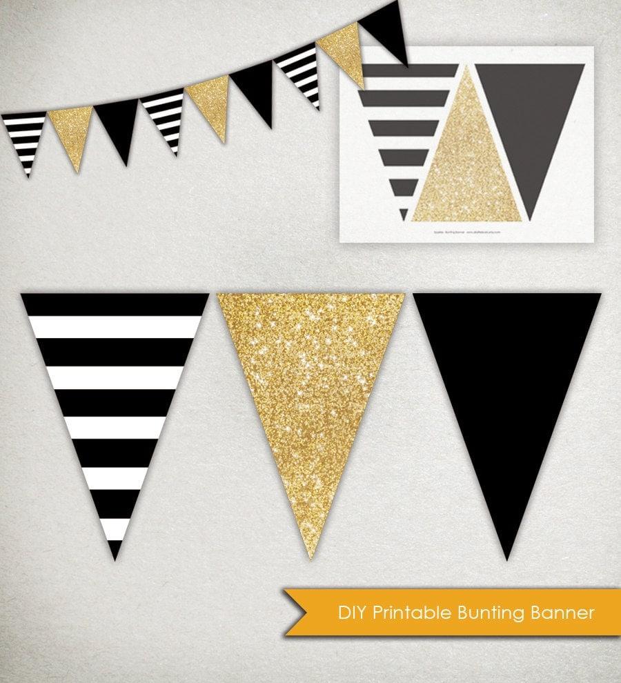 instant download sparkle banner printable triangle bunting. Black Bedroom Furniture Sets. Home Design Ideas