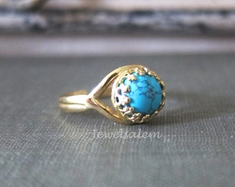 Turquoise Ring, Gold Turquoise Ring, Silver Turquoise Ring, Blue Gemstone Ring, Small Stone Ring, Adjustable Ring, Statement Ring
