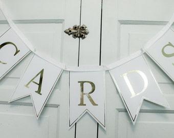Wedding Cards banner, Reception bunting, Wedding Sign Cards, Bridal or Baby Shower Cards garland, Gold foil wedding decor, Card box banner