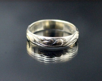 Art Deco Silver Band -- Thin Band--Silver Swirl Band--Solid sterling silver band--pattern silver band--Wedding Band
