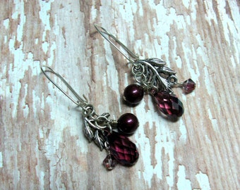 Blackberry Pearl Earrings, Leaf Earrings, Briolette Earrings, Fall Earrings, Autumn Earrings, Pearl Earrings, Holiday Earrings, Dangle