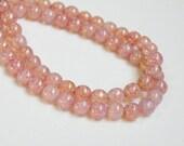 Pink Opal Druk Czech Picasso finish round glass beads 6mm half strand ND6-52