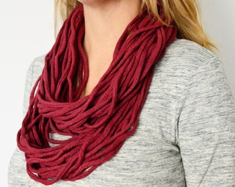 Layered necklace cranberry infinity necklace, Loop scarf, Infinity necklace felted, pure wool jewelry neckpiece, Wholesale
