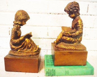 Boy and girl bookends reading  children classroom teacher librarian library kids education large pair vintage