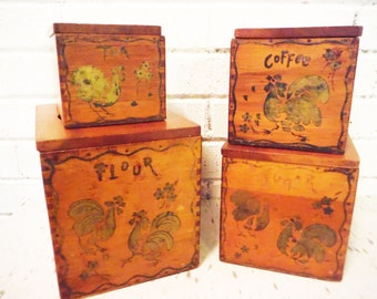 Vintage wooden canisters storage boxes chickens rustic primitive shabby cottage farmhouse kitchen nesting