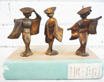 Three dancing geisha girls Art deco stylized vintage figurines rare antique