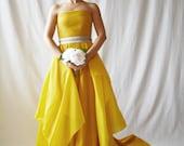 Wedding dress, yellow wedding dress, elegant wedding dress, modern wedding dress, alternative wedding dress,boho wedding dress, gold dress