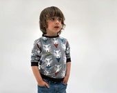 Boys jersey sweater top wolf jumper wolves print soft grey organic cotton funky kids clothing baby toddler babies animal desginer fun unique