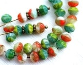 Bright beads mix, Green Orange Czech glass spacers, donuts, Multicolor, pressed fancy beads - 6mm - 30Pc - 2377